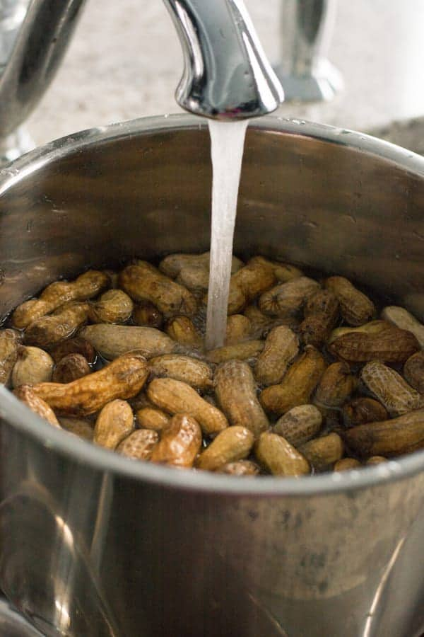 First step is to wash and clean for making Instant pot boiled peanuts.