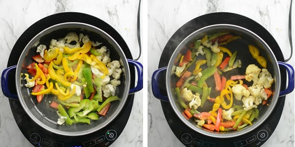 Ingredients for stir frying vegetable Jalfrezi, that is green, yellow and red peppers.