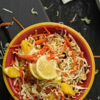 Asian cabbage salad is my sweetheart for a long time which I keep repeat making it often. As this is simple, healthy, and amazingly delicious. Loaded with fresh vegetables, and crunchy nuts. This is vegetarian, clean eating, real food recipe.