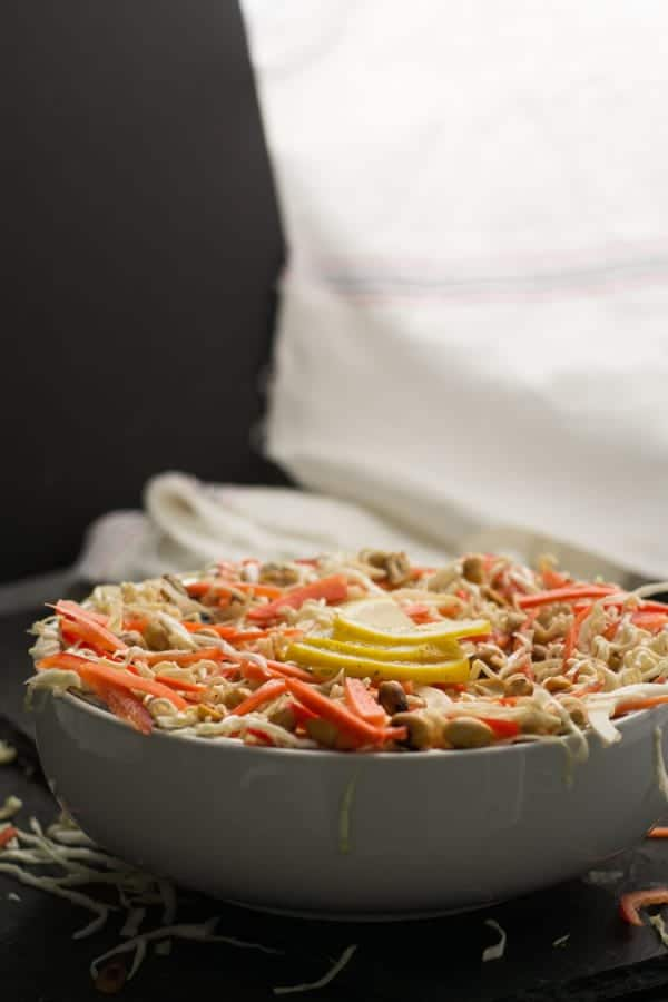 How to make Asian cabbage salad recipe? Simply,  Chop the vegetables- Chopping them to the size of the match stick will make half of the work done. Cutting cabbage, carrot, red pepper this way makes it authentic.