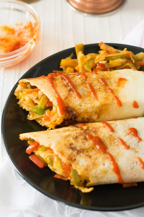 This spring dosa is irresistibly delicious which is easy to make with simple ingredients. This is a fusion recipe of South Indian and the Chinese cuisine. A purely vegan, vegetarian, real food and clean eating recipe.