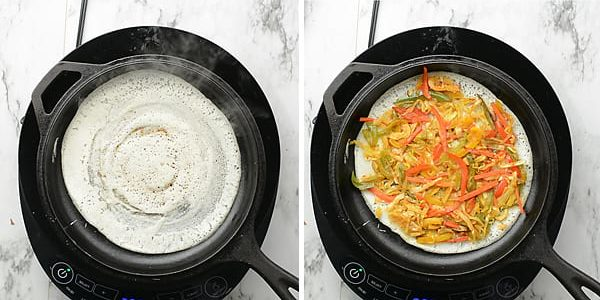 Spread the vegetable filling evenly over the dosa.
