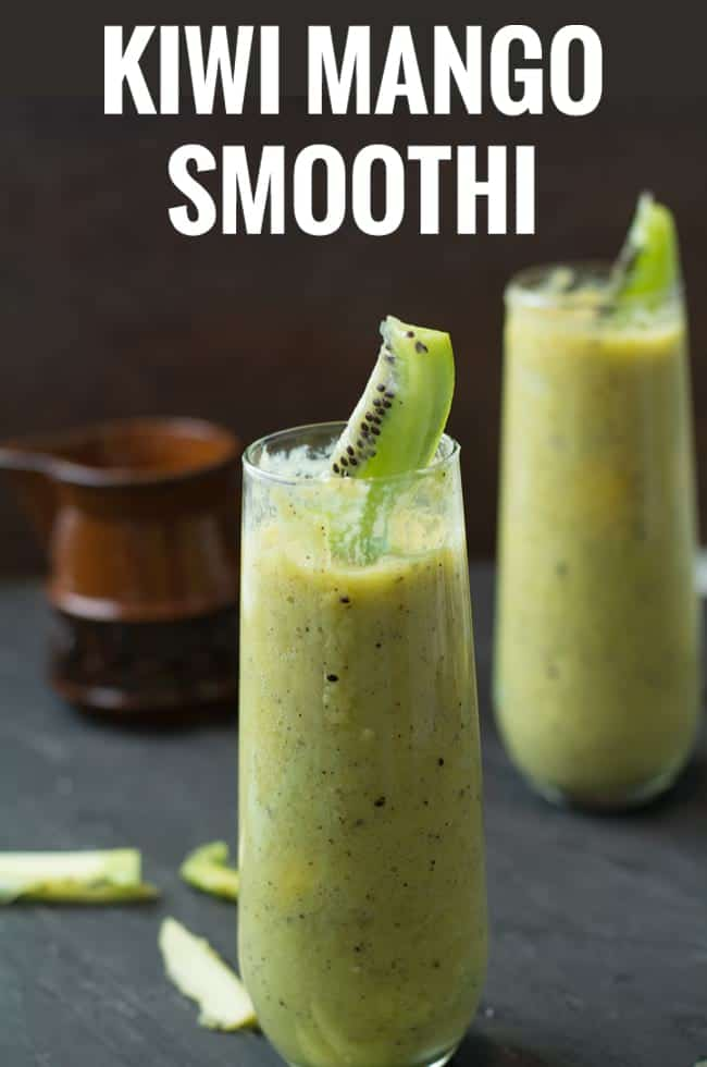Kiwi Mango Smoothie, a healthy, filling drink perfect for breakfast or for mid day meal. This a creamy, tasty and easy to make. Made with kiwi, mango, yogurt and honey.