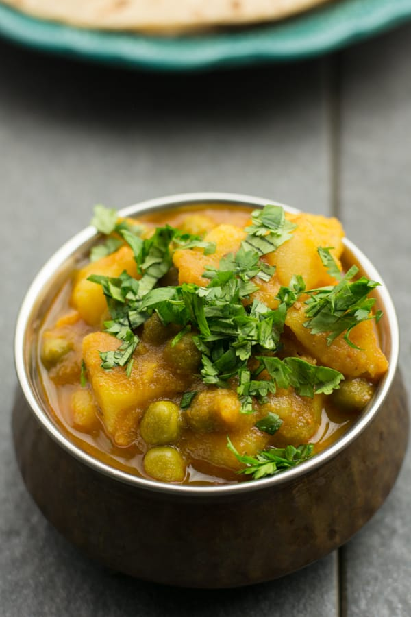 Aloo matar is typically translated to potato and peas. This is a Punjabi style side dish usually served with Indian bread like roti, chapati, paratha or rice.