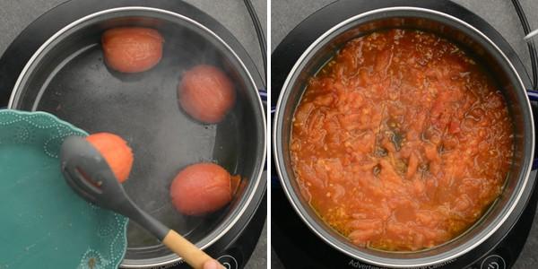 Tomatoes are mashed up to mushy to make this 5 ingredient vegan pasta.