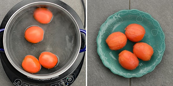 Blanced tomatoes. Peeled of the skin and removed the core for making pomodoro sauce.