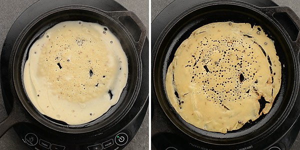 To make perfect South Indian instant breakfast recipe, Take a quarter cup of batter in a ladle and pour evenly over the pan. Keeping the ladle minimum of 6-8 inches away from the pan, helps the mixture spread evenly. Refer the video for better performance.
