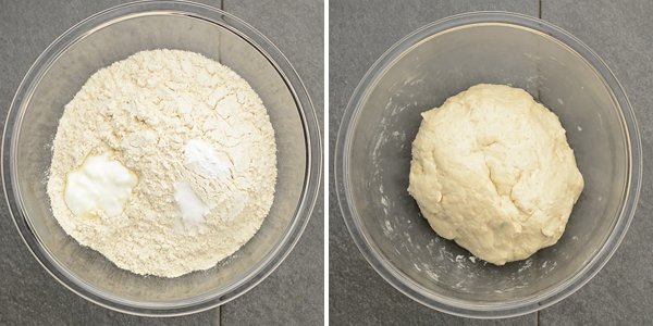 Combing the flour and leavening agents to make the popular, authentic Indian flat bread recipe.