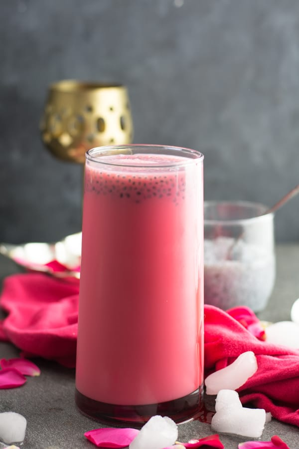 Easy rose milk recipe-Learn how to make rose milk at home with rose milk syrup or rose milk essence. And, it's a refreshing summer drink. A big mug of Indian style rose milk is pleasant to have in the morning or as a calming drink before bed.