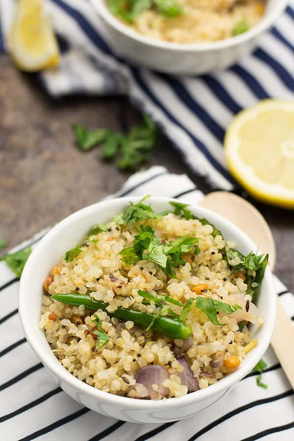 This quinoa upma recipe is an effort to give a contemporary look to the traditional upma recipe. By retaining all the beautiful flavors of upma, made with the present-day popular grain called quinoa.