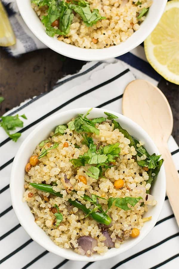 Quinoa upma, the South Indian breakfast is great for healthy, fiber-rich mornings. The classic tasting upma made with quinoa, onion, mustard seeds, and ginger.