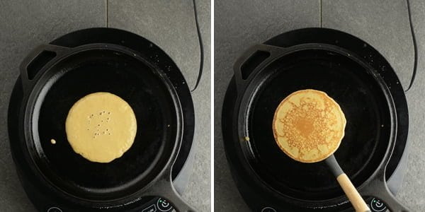 Cook this whole wheat coffee pancake to golden brown on both the sides.