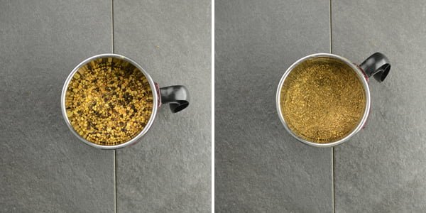 Allowing the roasted ingredients to cool to make the fragrant and hot rasam powder mix.