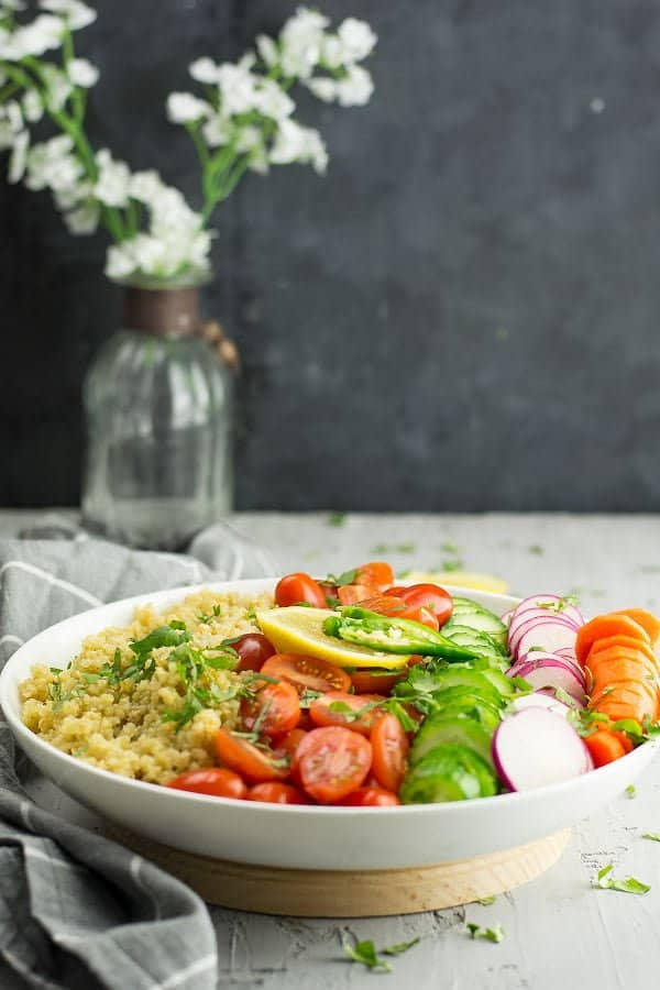 Indian Quinoa salad, Its a pack of flavors and with layers of taste. The lemon juice, fresh cilantro, and the chili peppers make all the difference that you crave for more.