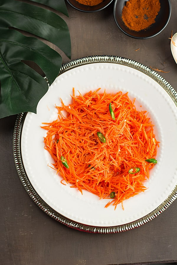 Indian carrot salad recipe is vegan, vegetarian, gluten-free, healthy recipe. Made with unprocessed natural ingredients, a guilt-free compliment tastes great as well. The easiest salad ever!