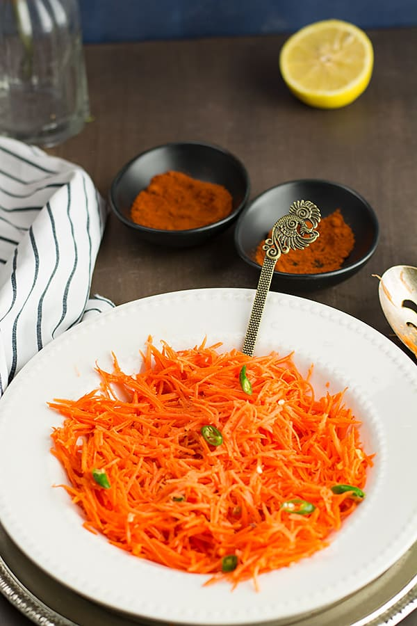 serving grated Indian carrot salad