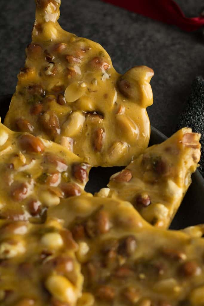 Soft, light, crispy peanut brittle for he holiday gift. Quick and easy to make with pantry staple ingredients.