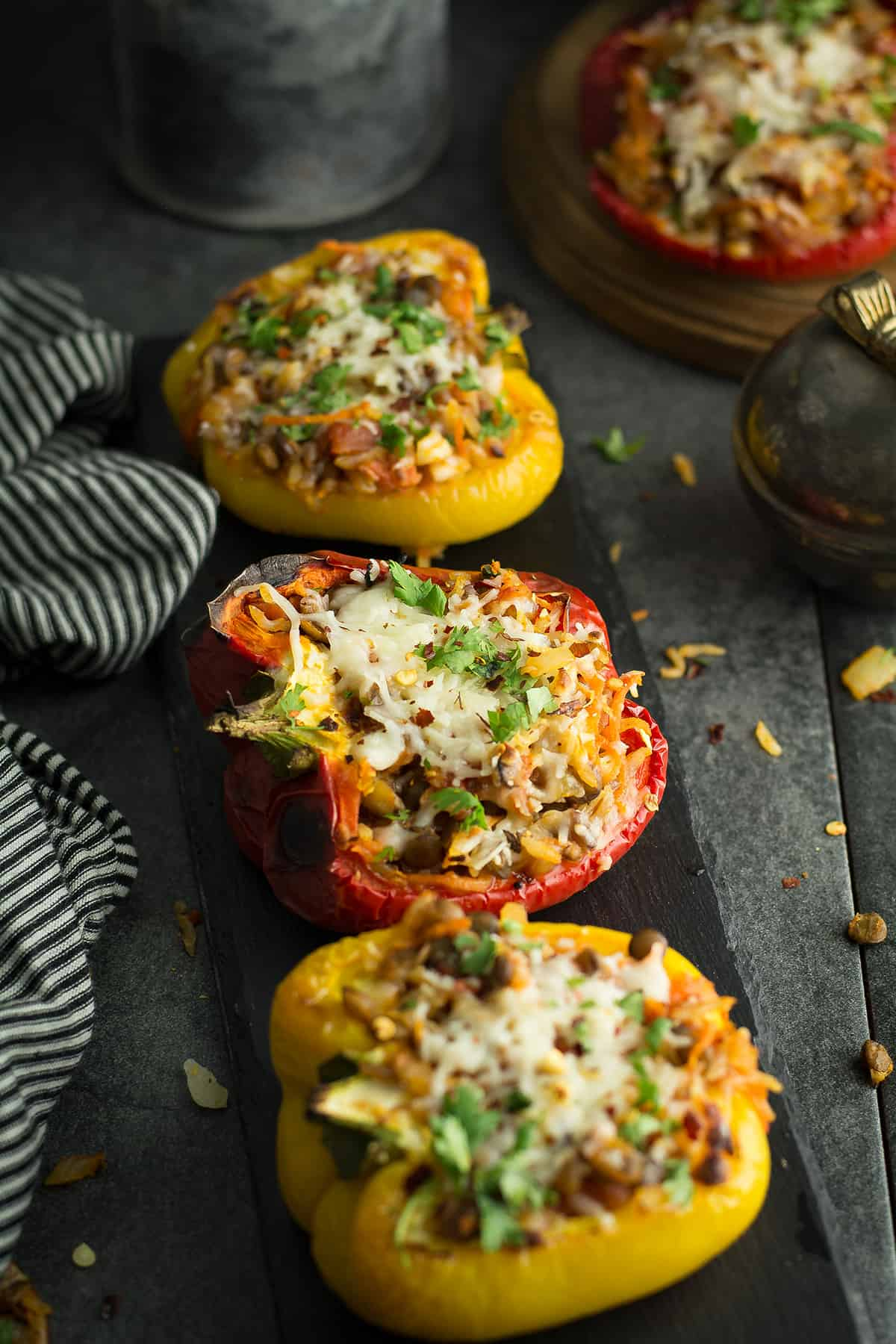 This Lentil stuffed peppers recipe is extremely flexible, filling dish. Loaded with rice, lentil, and vegetables make it a wholesome meal. A freezer-friendly recipe, make ahead of time and enjoy your meal effortlessly.