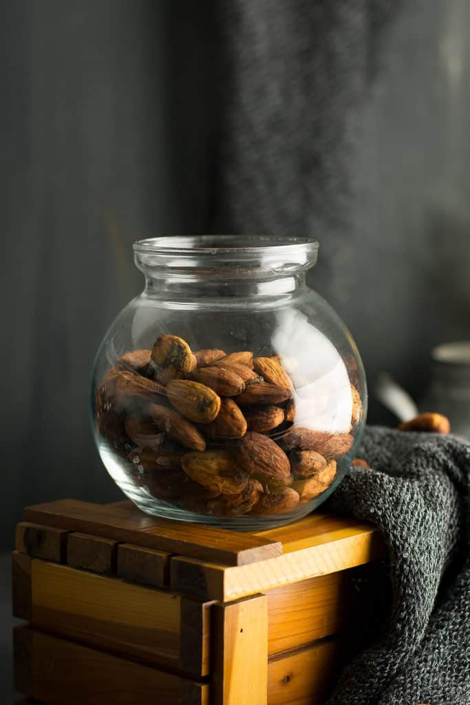 This Chili lime almond is one of the delicious alternatives to the regular roasted almonds is kept in a clear jar.