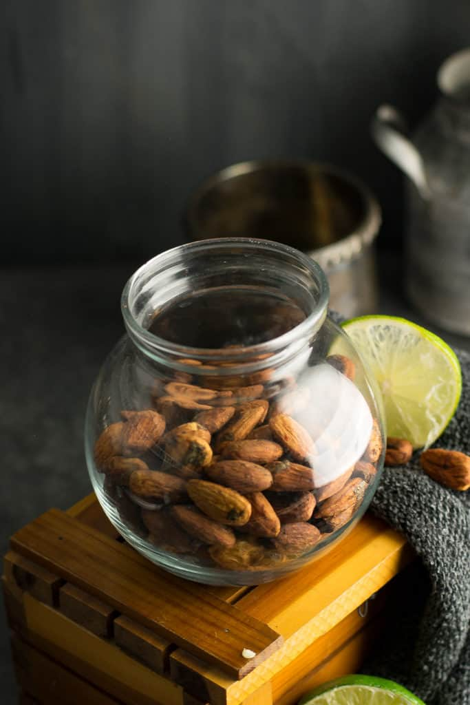 The tempting almonds are easy to store.