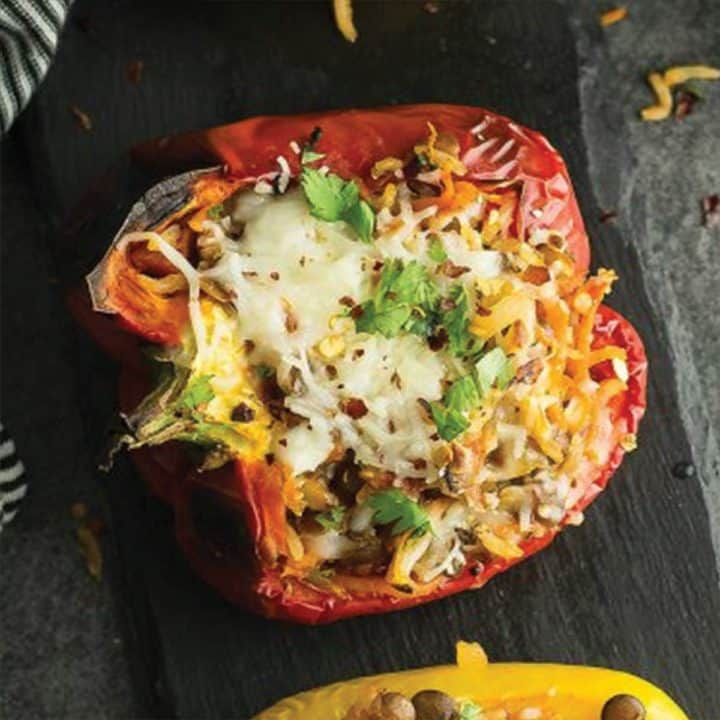 lentil stuffed peppers with sprinkled cilantro