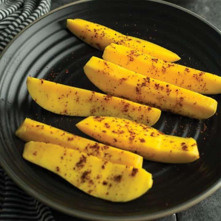 mango with spicy chili powder