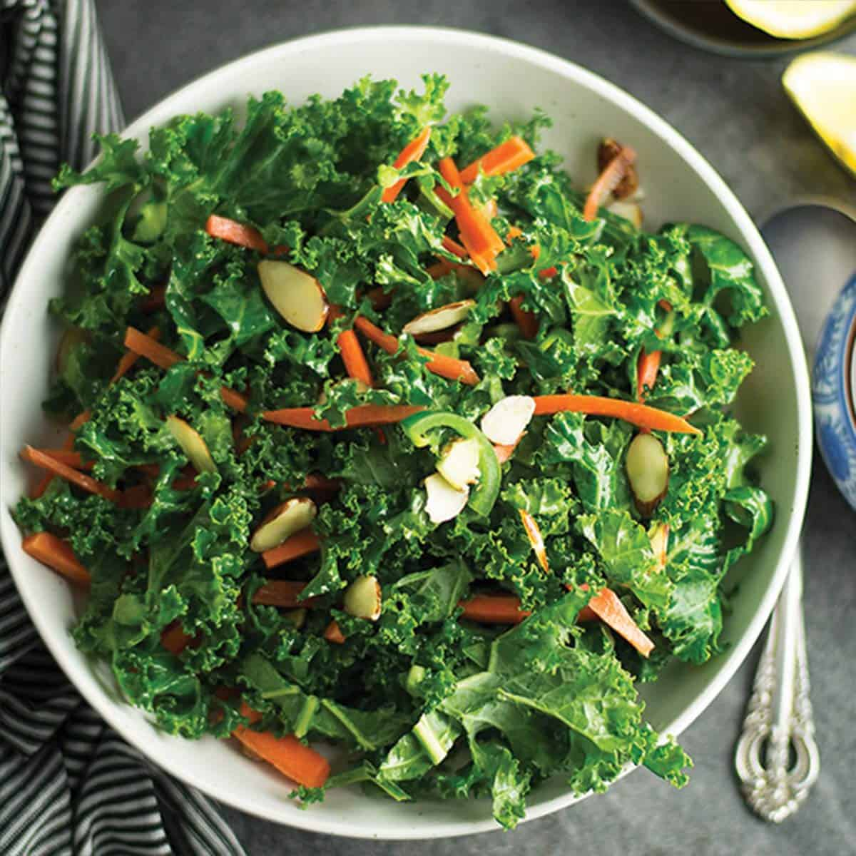 Spicy kale salad with lemon vinaigrette.