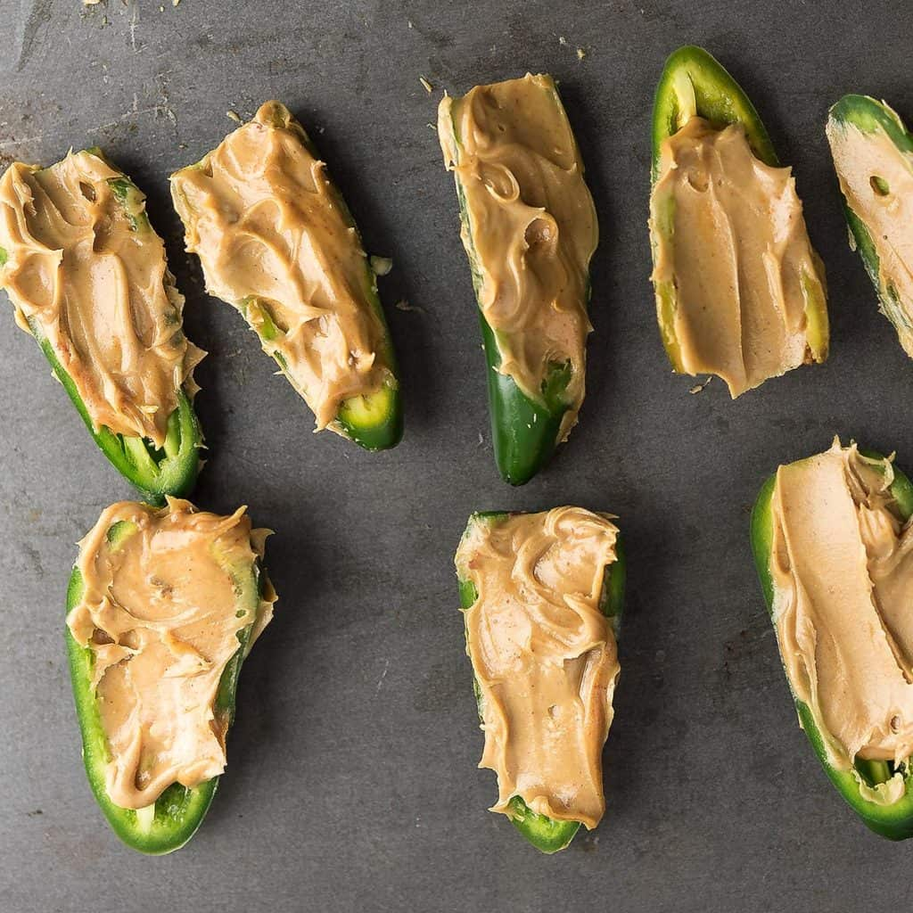 Peanut butter stuffed in the pepper.