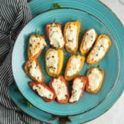 Goat cheese stuffed mini peppers are mildly hot with a creamy filling, leaves you highly satisfied. Easy appetizer recipe for party or gameday.