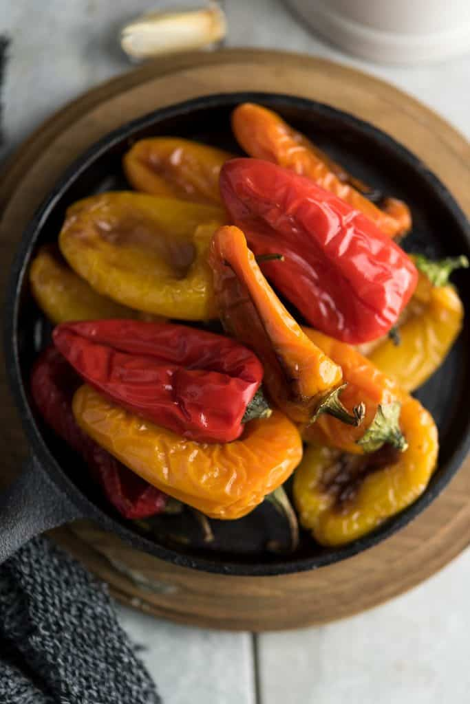 Roasted mini peppers are delicious, served as a appetizer.