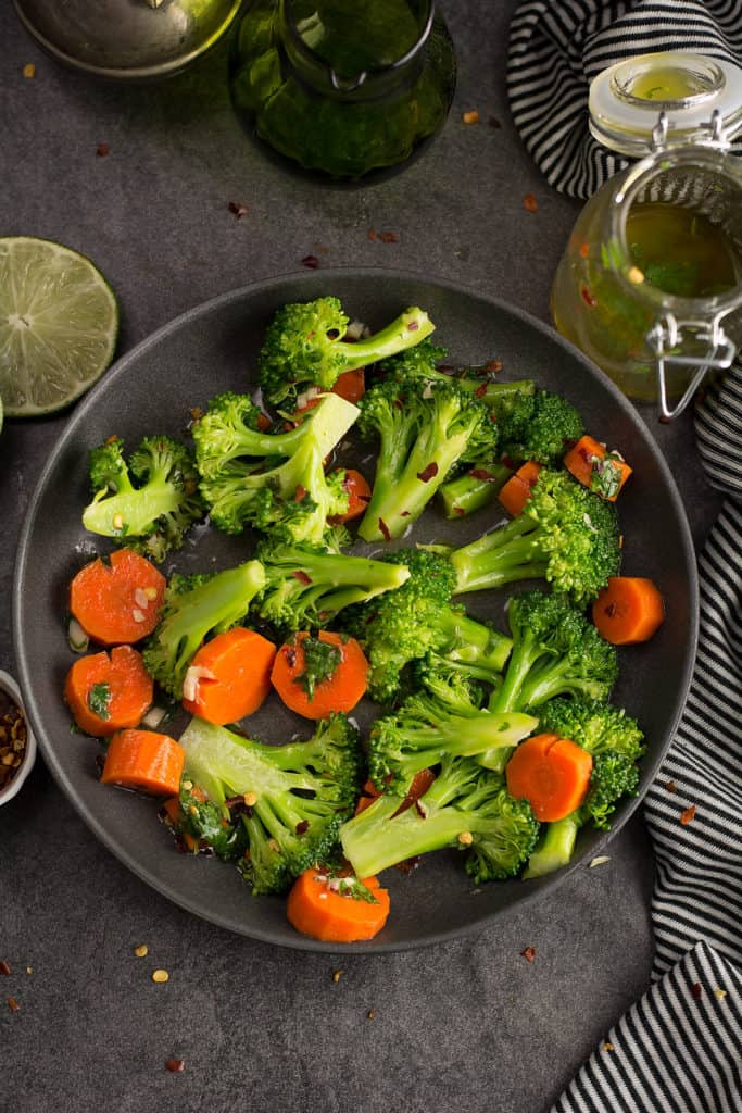 Spicy broccoli salad served in a decorative bowl.