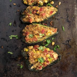 Tofu stuffed peppers are loaded with spices and meat-free. An excellent dish to enjoy as a classic appetizer or as a vegetarian dinner.