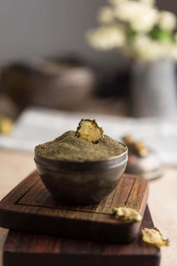 Pickle powder in a small dipping bowl.