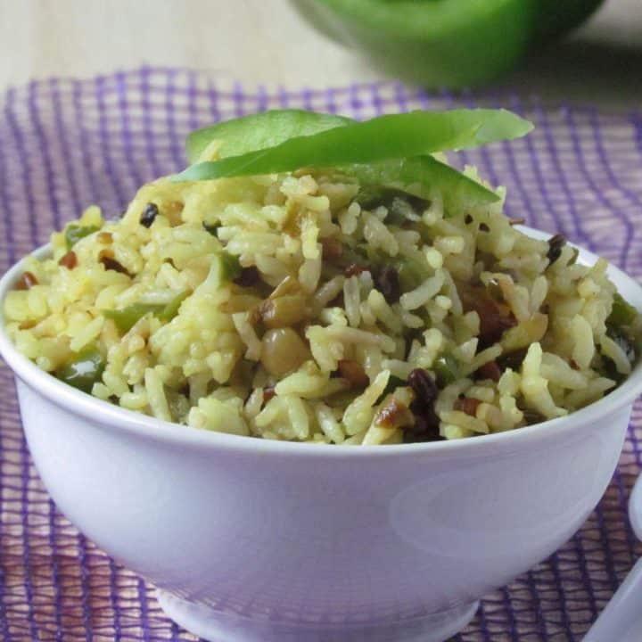Capsicum rice/ Green bell pepper rice!