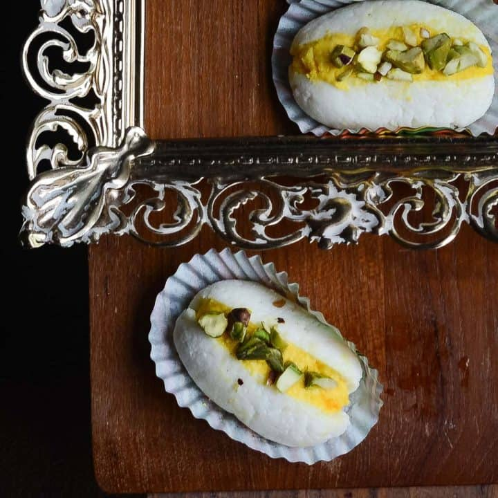 chum chum, the Bengali sweet with yellow stuffing and white outer covering.