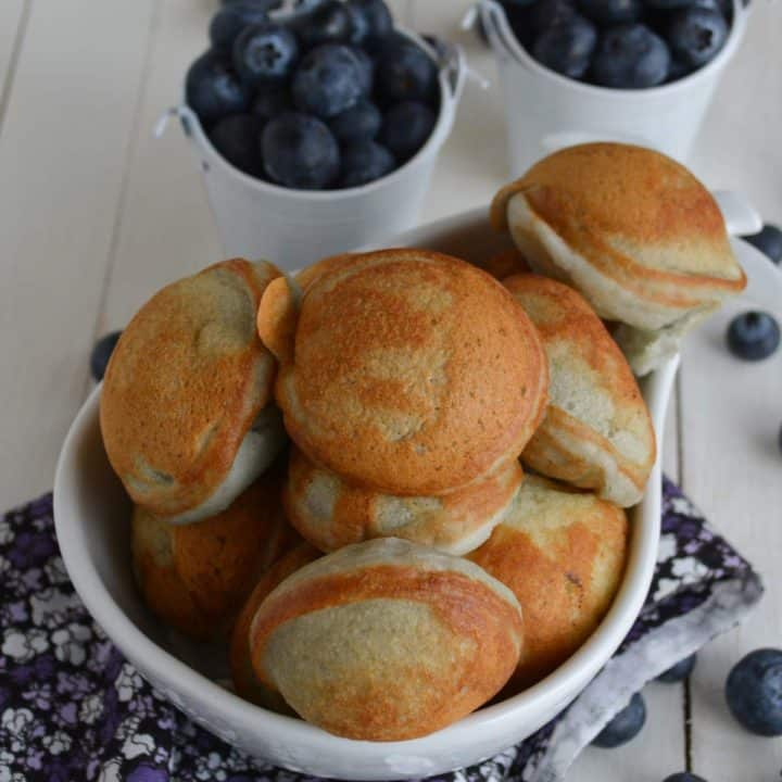 Blueberry cake pop, with regular pancake mix ready to serve for breakfast.