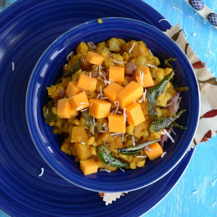 Butternut squash kootu served with rice.