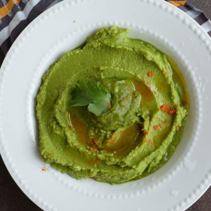 Cilantro jalapeno hummus, served with appetizers!