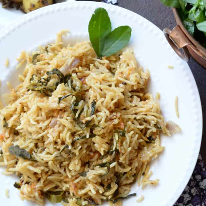 Methi Biryani, served in plate for lunch.