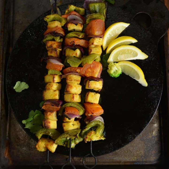 Paneer tikka made in oven served with colorful veggies!