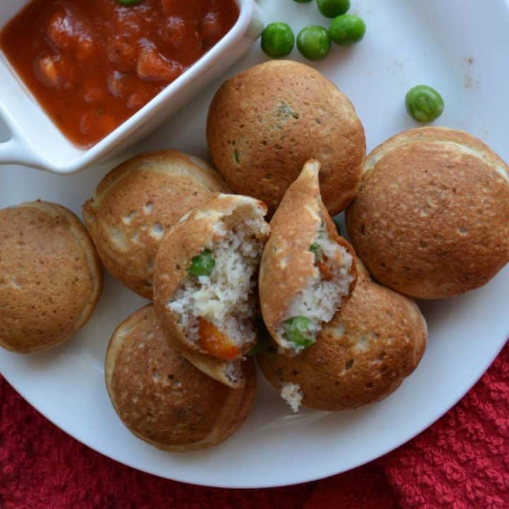 vegetable pancake poppers, are colorful, served with salsa.