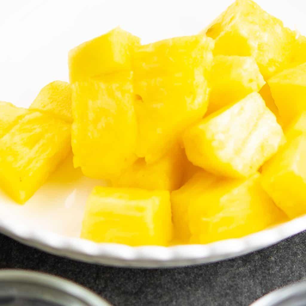 Pineapple chunks ready.