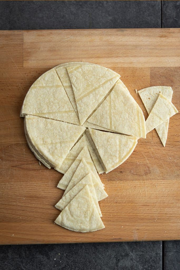 tortilla is cut to make spicy chips.